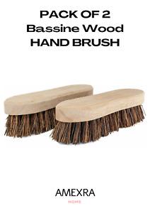 Bassine Scrubbing HAND Brush Wooden Stiff Hard Deck Bristle Floor Clean 2PK