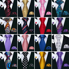 200 Color Mens Tie Necktie Set Blue Red Black Striped Geometric Hanky Cufflinks