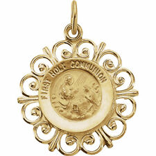 First Holy Communion Medal In 14K Yellow Gold