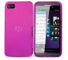 Híbrido delgado caucho gel piel funda para BlackBerry Z10-Rosa