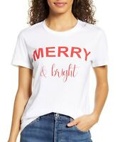 1901 Women's Top Knit Merry & Bright T-Shirt White /Red Size XS NEW🔥
