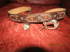 Vintage Western Style Brown Belt, Silver Studs, Gorgeous Tooling, Handmade 30