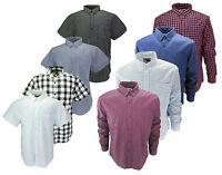 BROOKLYN Mens Premium Long Short Sleeve Shirt Cotton Check Summer Style Smart
