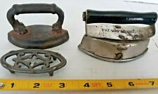 Set of 2 Miniature Toy Antique Cast Iron Double Point Sad Irons and 1 Trivet