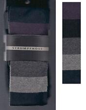 Strick-Strumpfhose, Baumwollmix, warm+blickdicht, Blockstreifen, grau-geringelt
