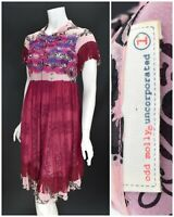Womens Odd Molly 100% Silk Dress Pink Fringed Snap Floral Size 1 / S