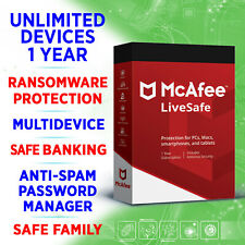 McAfee LiveSafe 2020 UNLIMITED devices 1 year FULL KEY / Win, Mac, iOS, Android