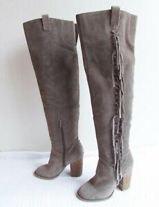 Carlos by Carlos Santana Sz 6 Taupe Suede Fringe Boho Heeled Over The Knee Boots