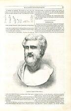 Buste de Sophocle Poète dramaturge grec Grèce antique Antiquité GRAVURE 1840