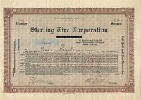 Sterling Tire Corporation Common Stock Certificate 1925