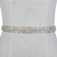 Exquisite Ivory Organza Beaded Bridal Sash Belt w/ Wedding Dress Pearl Belt Sash