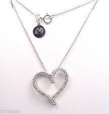 DIAMOND HEART .50 TCW 14K WHITE GOLD DESIGNER PENDANT and CHAIN