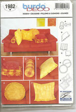Burda Deco Sewing Pattern # 1982 Pillows & Cushions  Home Decor Cylinder Square