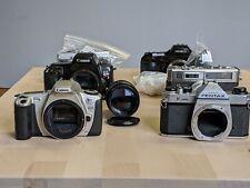 Lot of 35mm cameras & lenses as is Olympus OM-1 Pentax K1000 Canon Rebel Minolta