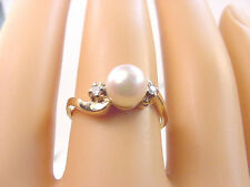 PINKISH WHITE CULTURED AKOYA PEARL 6.60 mm. and DIAMONDS 14K GOLD RING