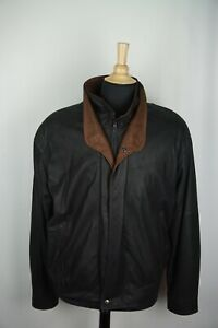 Remy Black Brown Double Collar Leather Zip Up Bomber Jacket Sz 42