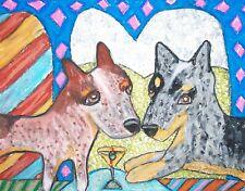 Australian Cattle Dog Collectible Aceo Print Dog Art Card 2.5X3.5 Ksams Martini