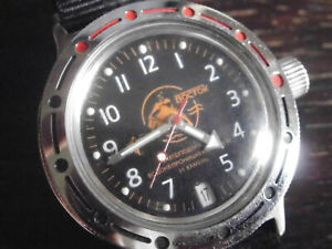 """Vostok Amphibia Automatik Taucheruhr 200m  Motiv """"oranger Taucher"""" NATO Armband"""