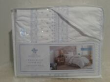 New SIMPLY SHABBY CHIC White Blue Bohemian Embroidered Duvet Set - Twin