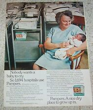 1973 print ad - Pampers Newborn Diapers baby nurse hospital Procter & Gamble ad