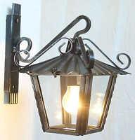 Lanterna lampione da esterno in ferro battuto con vetri braccio da parete 25 cm