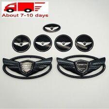 7pcs/Set 3D Black Carbon Fiber Badge Emblem FOR Hyundai Genesis Coupe 2010-2018