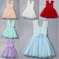 Flower Girl Kids Toddler Baby Princess Party Pageant Wedding Tulle Tutu Dress UI