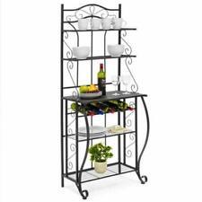 5 Tier Bakers Rack Black Metal Kitchen Storage Shelf Stand Microwave Cart