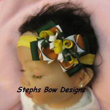 M2M Green Bay Packers Football Dainty Layered Korker Hair Bow Headband