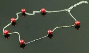 New HONORA 8mm Ruby Red Pearl Silver Tone Station Necklace Chain QVC