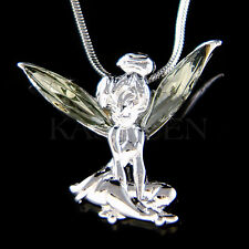 w Swarovski Crystal Gray Tinkerbell Tinker Bell Fairy ANGEL Pendant Necklace New