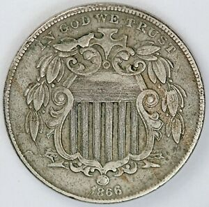 1866 United States Shield Five-Cent 5c Nickel - VF Very Fine Condition