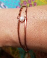 Solid Wire Wrapped Bracelet Cuff With Pearl