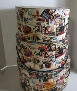 NOSTALGIC SET OF 3 ROUND NESTING BOXES MOVIES WARMER BROS. 1992