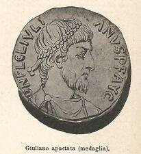 A7689 Giuliano apostata (Medaglia) - Xilografia - Stampa Antica del 1927