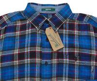 Men's WOOLRICH Blue Gray Colors Plaid Flannel Cotton Shirt X-Large XL NWT NEW