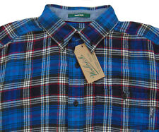 Men's WOOLRICH Blue Gray Colors Plaid Flannel Cotton Shirt Small S NWT NEW