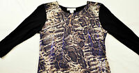 women's Janeric top size Petite Large pull-over long sleeve black snake print