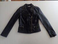 Ladies Vintage Sass Leather Studded Biker Jacket