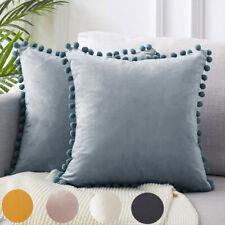 2x Soft Velvet Cushion Cover Pom Poms House Decors Sofa Car Throw Pillow Case !