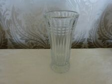 Vintage Retro Patterned Glass Footed Vase 20.5cm Tall