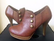 Fioni Ankle Boots High Heel Brown Booties Women's Size 7.5 Stacked