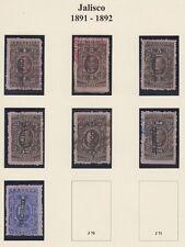 MEXICO, 1891-92. Revenue Jalisco Renta JA63-69, Mint/Used