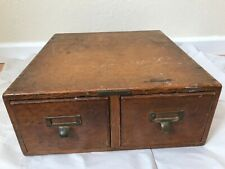 Antique Vintage LIBRARY BUREAU 2 drawer Index Card Catalog File Box Cabinet