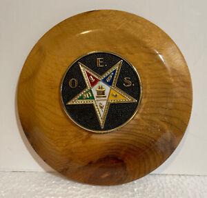 """Vintage Order of Eastern Star Myrtlewood Plaque 5"""""""