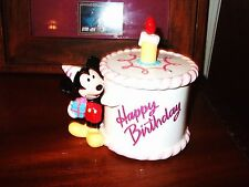DISNEY Mickey Mouse Happy Birthday Ceramic Candy Jar Figurine Top Vtg Party Dish