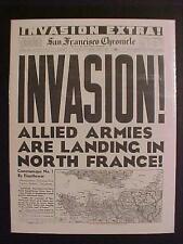 VINTAGE NEWSPAPER HEADLINE ~WORLD WAR 2 ALLIES NAZI FRANCE D-DAY INVASION WWII~