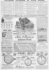 Vittoriano Pubblicità; borse, Orologi, fegato Pillole, camomilla Ecc-antica stampa 1888