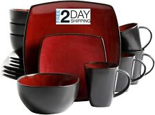 16 Pcs Square Dinnerware Set Red Dishes Dinner Stoneware Plates Kitchen Bowls