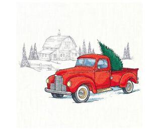 RETRO CLASSIC CHRISTMAS TRUCK HAND TOWEL SET CUSTOM EMBROIDERED